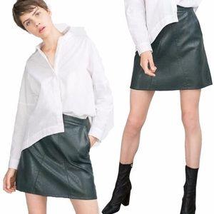 Zara basic size medium army green leather skirt.